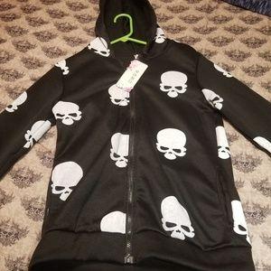 Jackets & Coats - Skull zip up hoodie
